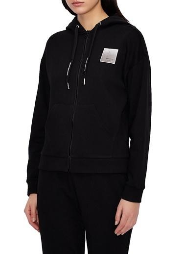 Armani Exchange  % 100 Pamuklu Kapüşonlu Sweat Kadın Sweat 3Kym61 Yj2Hz 1200 Siyah